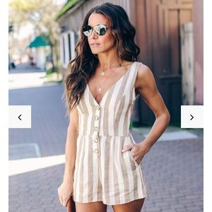 Striped Pocketed Romper